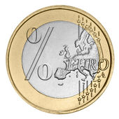 Euro coin with percent sign — Stockfoto
