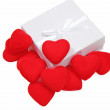 Royalty-Free Stock Photo: White gift box with red hearts inside on white background