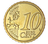 Ten euro cent on white background — Stock Photo