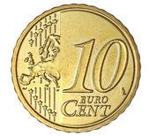 Ten euro cent on white background — Stock Photo
