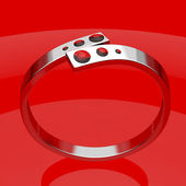 Silver ruby ring — Stock Photo
