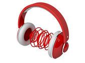 Red headphones — Stock Photo