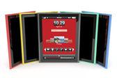 Tablet bilgisayarlar farklı renkler ile — Stok fotoğraf