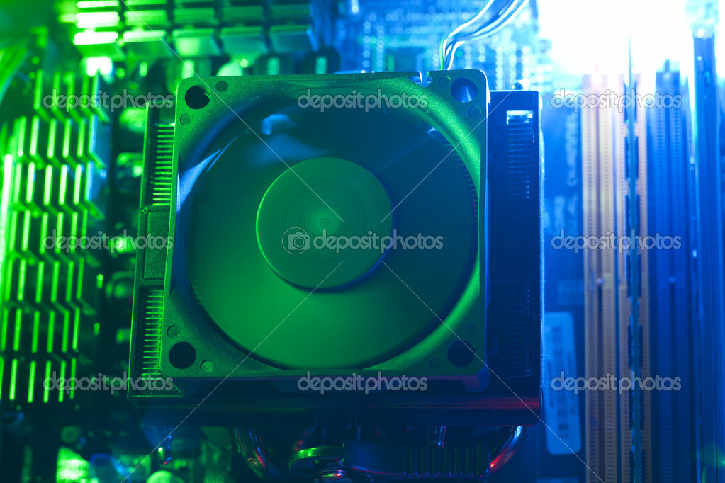 Inside a computer, details of CPU cooler — Stock Photo #9394142