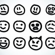 Hand drawn smile face. Vector design elements. — 图库矢量图片