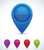 Conjunto de marcadores de mapa colorido — Vetorial Stock
