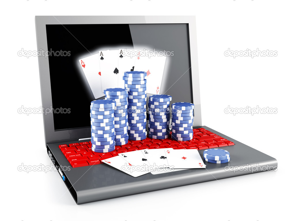 Gambling chips and poker cards on a laptop — Stock Photo #9210364