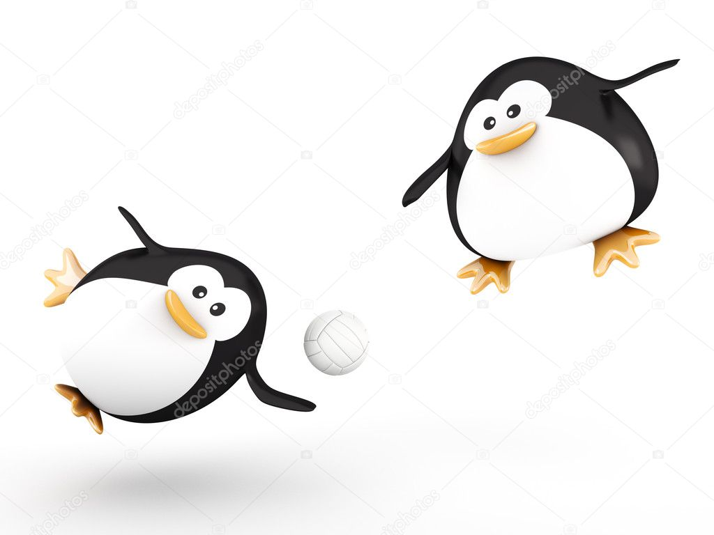 Fat volleyball players penguin  - 3D render — Stock Photo #9342238