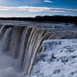 Niagara falls in winter evening — Stock Photo