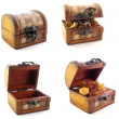 Wooden chests in set — Stock Photo