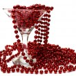 Red necklace in glass — Stock Photo #9657793