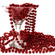 Red necklace in glass - Stock Photo