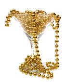Altın kolye cam içinde ve çevresinde — Stok fotoğraf