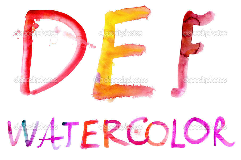 Painted watercolor alphabet.  — Stock Photo #10640687