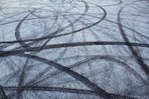Tire track on asphalt — Stock Photo