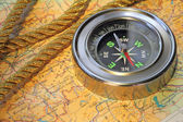 Compass over map — Stock Photo
