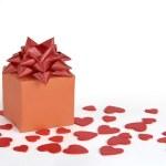 Gift box heart decor — Stock Photo
