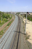 Curved railway running far away — Stock Photo