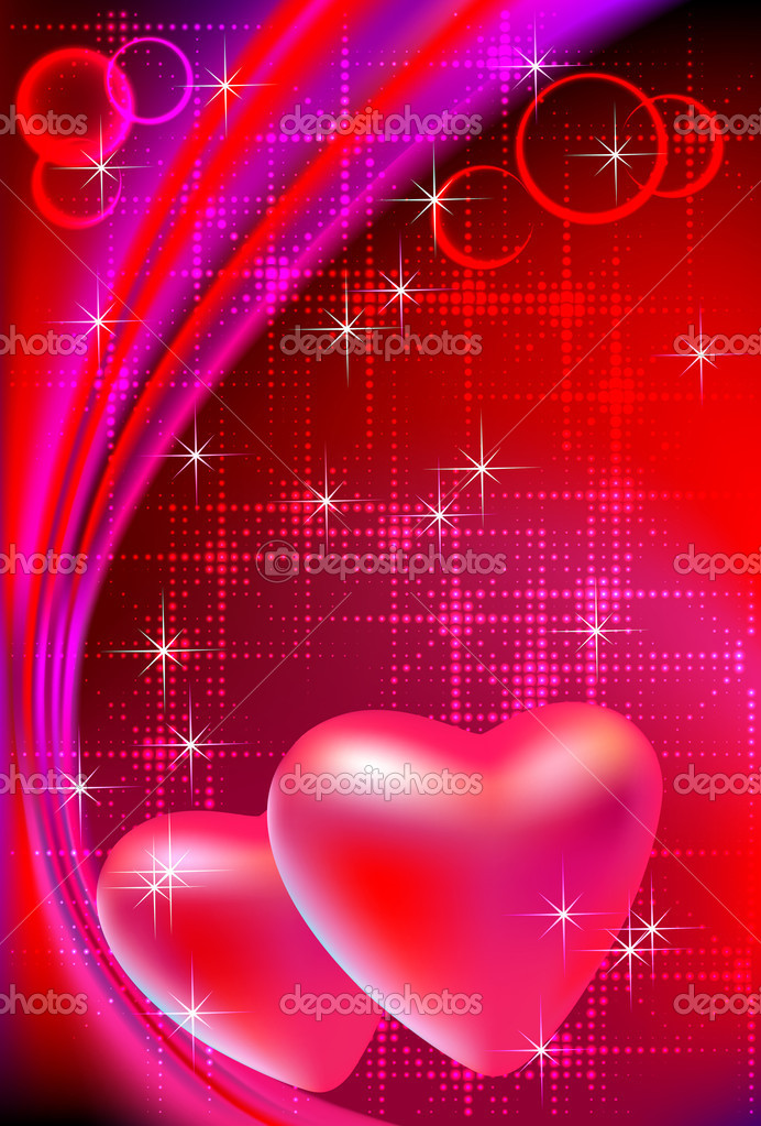 Vector illustration of two valentine's day hearts on abstract bright red background. — Imagen vectorial #8016268