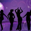 Five dancing women silhouettes on disco background — Imagens vectoriais em stock