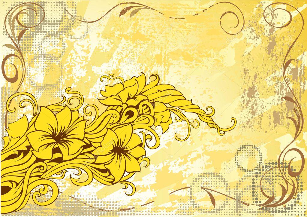 现代花卉 grunge 的装饰背景