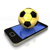 Smartphone d'oro calcio — Foto Stock