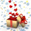 Gift With Red Hearts — Stock Photo