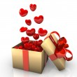Gift With Flying Red Hearts — Stock Photo #10559520