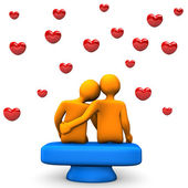 Love With Red Hearts — Stock Photo