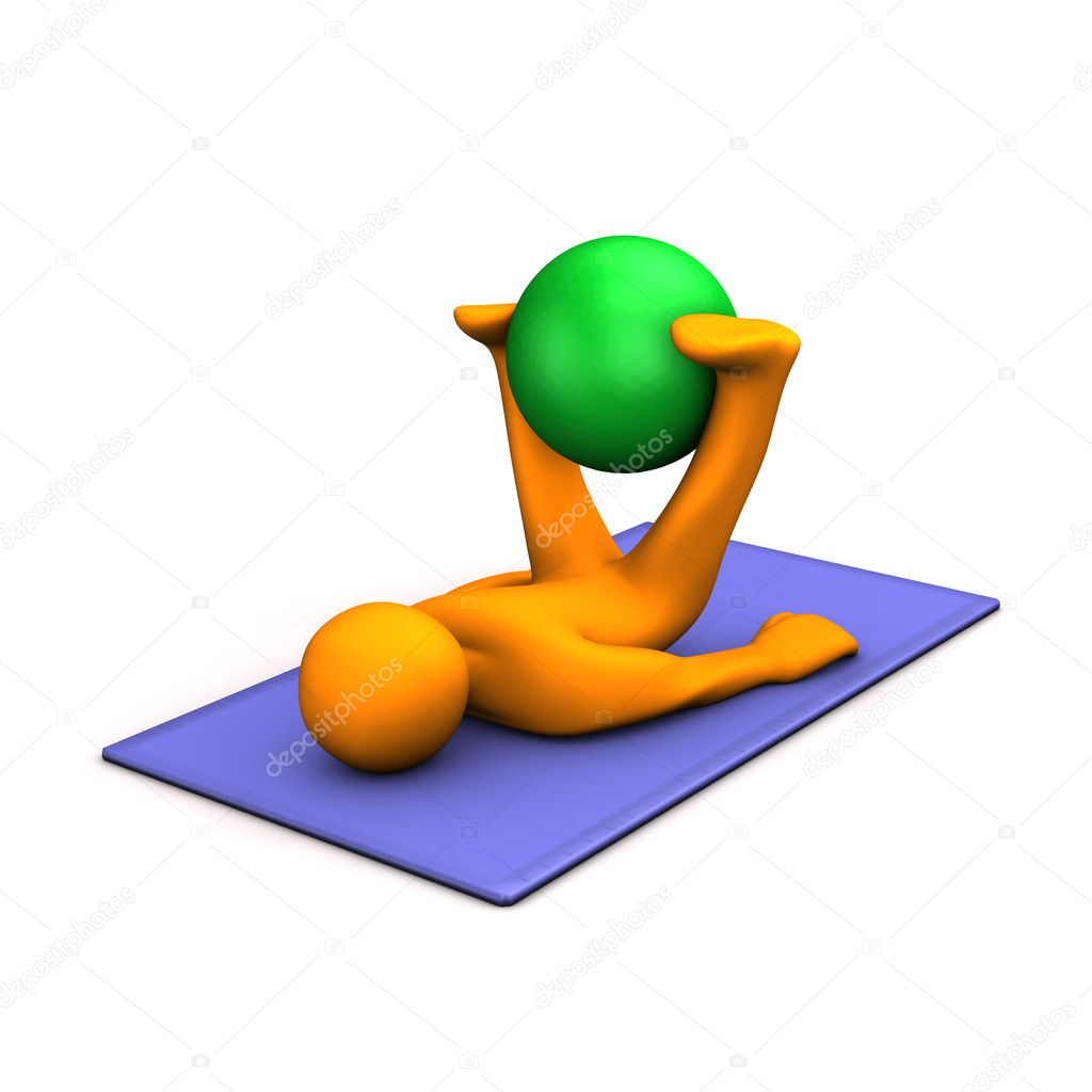Orange cartoon character makes gymnastics with medicine ball on blue mat. — Stock Photo #8636222