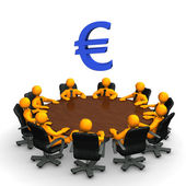 Euro Conference Table — Stock Photo