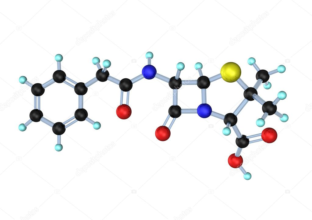 3d-illustration of penicillin g molecule on the white background.  Foto Stock #9229609