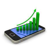 Gráfico de smartphone verde — Foto Stock