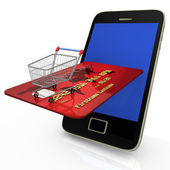 Mobile Shopping Credit Card — Stock Photo