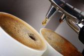 Coffee machine espresso . Process of preparation of coffee — Stock Photo