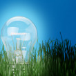 Stock Photo: Shone electric lamp in grass