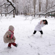 Mum and the daughter play snowballs — Stock Photo #8836898