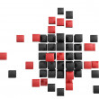 3d blocks red and black color. — Stockfoto