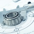 Stock Photo: Plindustrial details, protractor, caliper, divider and