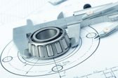 The plan industrial details, a protractor, caliper, divider and — Stock Photo