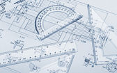The plan industrial details, a protractor, ruler — Stock Photo