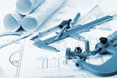The plan industrial details, a screws, caliper, divider,micromet — Stock Photo