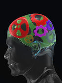 Transparent man's skull with colour curve gears — Stock Photo