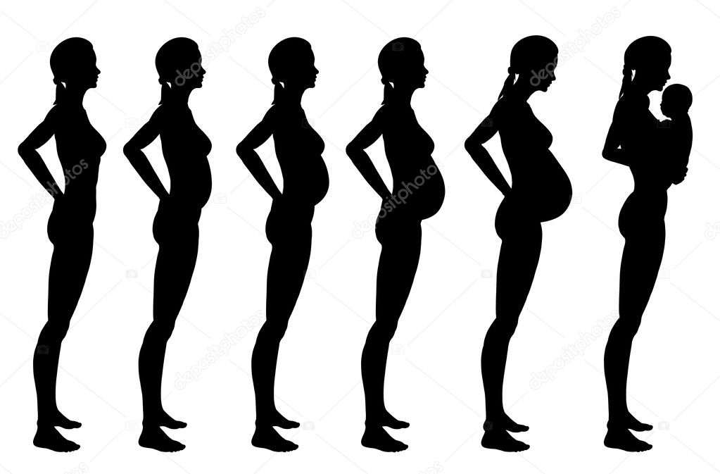 Stages of pregnancy of the woman. A profile full growth it is isolated on a white background — Stock Photo #9407549