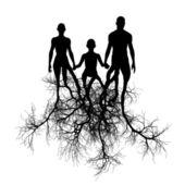 Família com raízes de árvore — Foto Stock