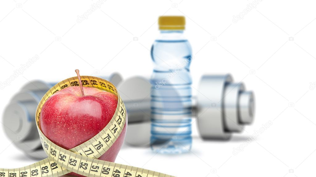 Dumbbells with an apple and measuring type. Dumbbells blured on a background. It is isolated on a white background — Stock Photo #9707461