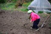 La bambina lavora in giardino — Foto Stock