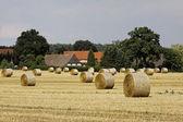 Round baler, straw bale in Lower Saxony, Germany — Stock Photo