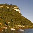 Garda, view of the promenade at Lake Garda in a southerly direction, Italy - Stock Photo