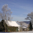Farm in winter in Hilter-Hankenberge, Osnabruecker land, Germany — Stock Photo